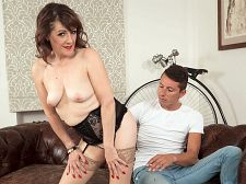 Granny Pandora sucks and copulates young cock