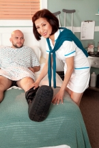Nurse Kim heals the sick, bonks the gigantic hard-on